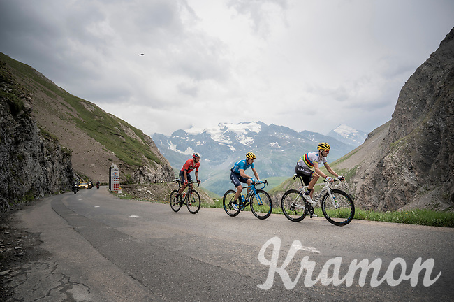 World Champion Alejandro Valverde (ESP/Movistar) & Mikel Landa (ESP/Movistar) up the Col de l'Iseran (HC/2751m/13km@7.3%) <br /> > where the race was eventually stopped (at the top) because of landslides further up the road (after a severe hail storm in Tignes)<br /> <br /> Stage 19: Saint-Jean-de-Maurienne to Tignes(126km)<br /> 106th Tour de France 2019 (2.UWT)<br /> <br /> ©kramon