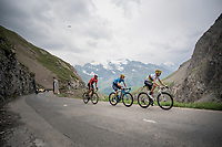 World Champion Alejandro Valverde (ESP/Movistar) & Mikel Landa (ESP/Movistar) up the Col de l'Iseran (HC/2751m/13km@7.3%) <br /> > where the race was eventually stopped (at the top) because of landslides further up the road (after a severe hail storm in Tignes)<br /> <br /> Stage 19: Saint-Jean-de-Maurienne to Tignes (126km)<br /> 106th Tour de France 2019 (2.UWT)<br /> <br /> ©kramon