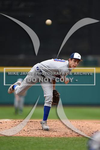 Attica Blue Devils vs Alexander Trojans Junior Varsity baseball at Frontier Field on May 12, 2014 in Rochester, New York.  (Copyright Mike Janes Photography)