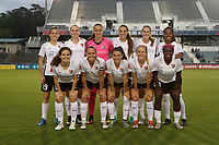 Cary, North Carolina  - Wednesday May 24, 2017: Sky Blue FC starters. Front row (from left): Daphne Corboz, Christie Pearce, Mckenzie Meehan, Nikki Stanton, Mandy Freeman; back row (from left): Kelley O'Hara, Leah Galton, Kailen Sheridan, Erica Skroski, Sarah Killion, Kayla Mills prior to a regular season National Women's Soccer League (NWSL) match between the North Carolina Courage and the Sky Blue FC at Sahlen's Stadium at WakeMed Soccer Park. The Courage won the game 2-0.
