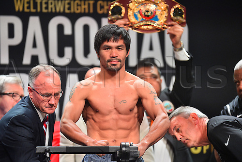 08.04.2016. Las Vegas, Nevada, USA.  Manny Pacquiao (Sarangani Province, Philippines) poses for photos during the official pre-fight weigh in at the MGM Grand Garden Arena at the MGM Grand Hotel and Casino in Las Vegas, Nevada. Manny Pacquiao (Sarangani Province, Philippines) and Timothy Bradley (Palm Springs, Calif., USA) will face off for the WBO Welterweight International Title on Saturday, April 9, 2016 at the MGM Grand Garden Arena in Las Vegas, Nevada, USA.