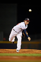 Mississippi Braves relief pitcher Jacob Webb (45) delivers a pitch during a game against the Mobile BayBears on May 7, 2018 at Trustmark park in Pearl, Mississippi.  Mobile defeated Mississippi 5-0.  (Mike Janes/Four Seam Images)