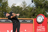 Thomas Pieters (BEL) in action on the 14th hole during second round at the Omega European Masters, Golf Club Crans-sur-Sierre, Crans-Montana, Valais, Switzerland. 30/08/19.<br /> Picture Stefano DiMaria / Golffile.ie<br /> <br /> All photo usage must carry mandatory copyright credit (© Golffile | Stefano DiMaria)