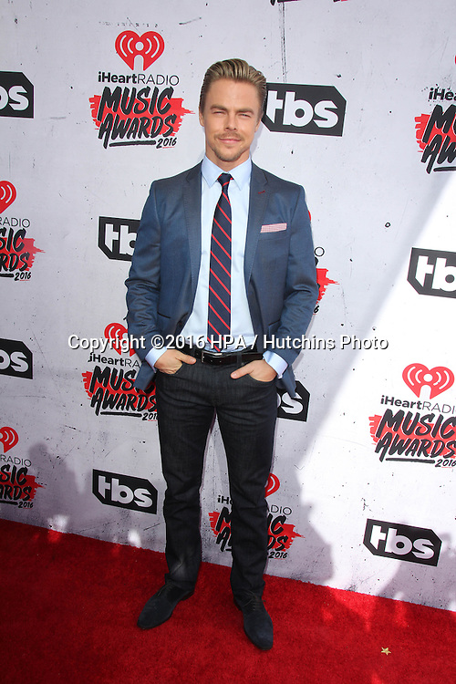 LOS ANGELES - APR 3:  Derek Hough at the iHeart Radio Music Awards 2016 Arrivals at the The Forum on April 3, 2016 in Inglewood, CA