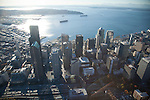 Aerial photo of the Seattle skyline and waterfront