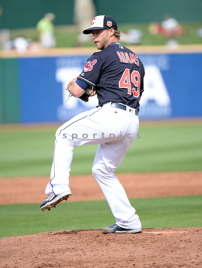 Cleveland Indians Austin Adams (49) during a pre-season game against the Cincinnati Reds on March 1, 2016 at Goodyear Ballpark in Goodyear, AZ. The Reds beat the Indians 6-5.