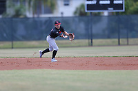 MC Sagaro (57) of Archbishop McCarthy High School in Davie, Florida during the Under Armour Baseball Factory National Showcase, Florida, presented by Baseball Factory on June 13, 2018 the Joe DiMaggio Sports Complex in Clearwater, Florida.  (Nathan Ray/Four Seam Images)