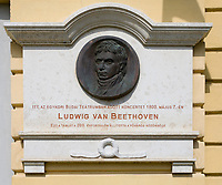 HUN, Ungarn, Budapest, Stadteil Buda, Burgviertel: Erinnerungstafel an ein Konzert Ludwig van Beethovens im Jahre 1800 im heutigen National Tanztheater am Paradeplatz (Dísz ter) | HUN, Hungary, Budapest, Castle District: memorial plaque at Ludwig van Beethoven's concert in 1800 at todays National Dance Theatre at Parade Square (Dísz ter)