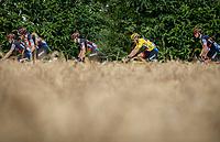 Yellow Jersey Greg Van Avermaet (BEL/BMC) escorted by his team.<br /> <br /> Stage 4: La Baule &gt; Sarzeau (192km)<br /> <br /> 105th Tour de France 2018<br /> &copy;kramon