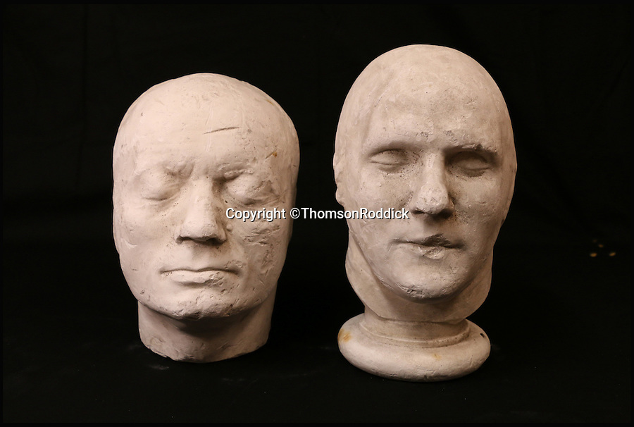 BNPS.co.uk (01202 558833)<br /> Pic: ThomsonRoddick/BNPS<br /> <br /> 19th century plaster death mask head of a man sold for £1,700.<br /> <br /> These disturbing Victorian plaster cast heads of notorious criminals are a far cry from today's bland mugshots of lowlifes.<br /> <br /> Two of the heads have been identified as Benjamin Courvoisier, a serial killer in the mould of Jack the Ripper, and coachman Daniel Good who mutilated his pregnant mistress. <br /> <br /> In total, nine heads were discovered at an outbuilding at a rural home just outside Penrith, Cumbria, which have now fetched almost £40,000 at auction. <br /> <br /> Experts predicted the collection of heads would sell for £2,000  but Courvoisier's head alone went for £20,000.<br /> <br /> Two of the heads were made by the famous British exponent of phrenology, James De Ville, who built a private museum of more than 5,000 specimens.