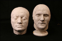 BNPS.co.uk (01202 558833)<br /> Pic: ThomsonRoddick/BNPS<br /> <br /> 19th century plaster death mask head of a man sold for &pound;1,700.<br /> <br /> These disturbing Victorian plaster cast heads of notorious criminals are a far cry from today's bland mugshots of lowlifes.<br /> <br /> Two of the heads have been identified as Benjamin Courvoisier, a serial killer in the mould of Jack the Ripper, and coachman Daniel Good who mutilated his pregnant mistress. <br /> <br /> In total, nine heads were discovered at an outbuilding at a rural home just outside Penrith, Cumbria, which have now fetched almost &pound;40,000 at auction. <br /> <br /> Experts predicted the collection of heads would sell for &pound;2,000  but Courvoisier's head alone went for &pound;20,000.<br /> <br /> Two of the heads were made by the famous British exponent of phrenology, James De Ville, who built a private museum of more than 5,000 specimens.