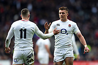 Jonny May of England celebrates his third try with team-mate Henry Slade. Guinness Six Nations match between England and France on February 10, 2019 at Twickenham Stadium in London, England. Photo by: Patrick Khachfe / Onside Images
