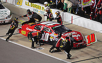 May 1, 2009; Richmond, VA, USA; NASCAR Nationwide Series driver Brian Scott pits during the Lipton Tea 250 at the Richmond International Raceway. Mandatory Credit: Mark J. Rebilas-