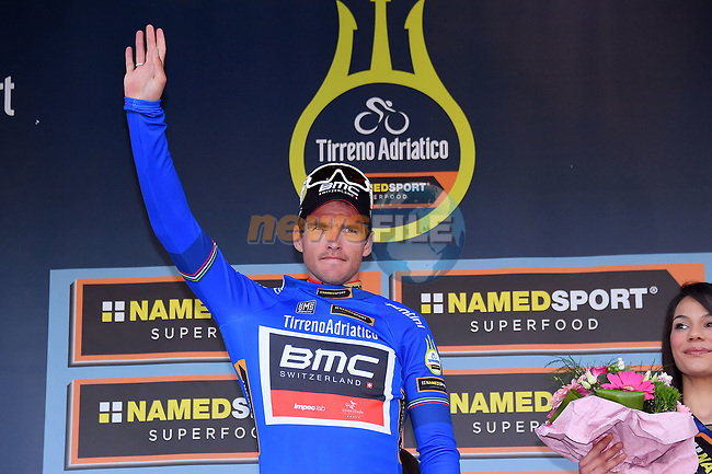 Greg Van Avermaet (BEL) BMC Racing Team wears the race leader's Maglia Azzurra on the podium at the end of Stage 2 of the 2017 Tirreno Adriatico running 229km from Camaiore to Pomarance, Italy. 9th March 2017.<br /> Picture: La Presse/Gian Mattia D'Alberto | Cyclefile<br /> <br /> <br /> All photos usage must carry mandatory copyright credit (&copy; Cyclefile | La Presse)