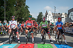 The jersey leaders lined up for the start of Stage 2 of the Deutschland Tour 2019, running 202km from Marburg to Gottinger, Germany. 30th August 2019.<br /> Picture: Mario Stiehl | Cyclefile<br /> All photos usage must carry mandatory copyright credit (© Cyclefile | Mario Stiehl)