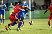 5th November 2017, Damson Park, Solihull, England; FA Cup first round, Solihull Moors versus Wycombe Wanderers; Joe Jacobson of Wycombe Wanderers pushes Akwasi Asante of Solihull Moors off the ball