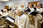 "Members of the choir of the Fountain of Life Lutheran Church rehearse before church in Sun City, Arizona January 10, 2010. In front is Mildred Hansen, 95, who has been a member of the church since it was founded in 1971. She moved to Sun City to retire, she said, ""only we didn't retire when we got here."""