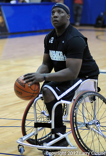 May 3, 2012:  Army Wounded Warrior, Perry Price, in action during wheelchair basketball competition at the 2012 Warrior Games at the United States Air Force Academy, Colorado Springs, CO.
