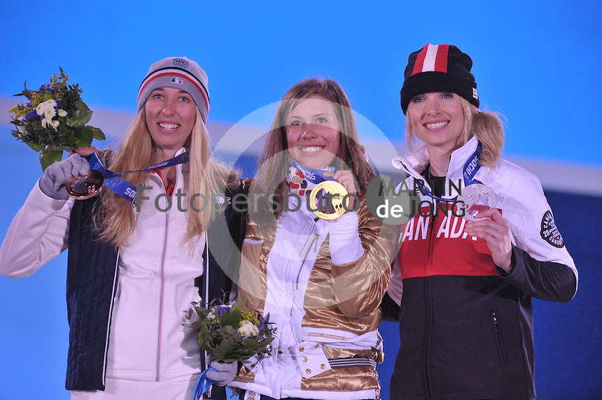 OLYMPICS: SOCHI: Medal Plaza, 16-02-2014, Ladies' Snowboard Cross, Chloe Trespeuch (FRA), Eva Samkova (CZE), Dominique Maltais (CAN), ©photo Martin de Jong
