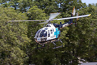 California Shock Trauma Air Rescue (CALSTAR)BO-105LS-A3 helicopter built by MBB departs Nevada County Airport. CALSTAR is a non-profit air ambulance service