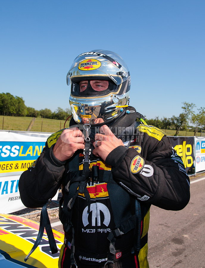 Apr 14, 2019; Baytown, TX, USA; NHRA funny car driver Matt Hagan during the Springnationals at Houston Raceway Park. Mandatory Credit: Mark J. Rebilas-USA TODAY Sports