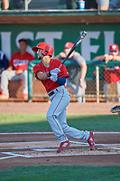 Will Wilson (21) of the Orem Owlz at bat against the Ogden Raptors at Lindquist Field on July 27, 2019 in Ogden, Utah. The Raptors defeated the Owlz 14-1. (Stephen Smith/Four Seam Images)