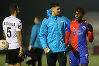 Conor Wilkinson and Tomi Adeloye celebrate Dagenham's victory at the final whistle during Bromley vs Dagenham & Redbridge, Vanarama National League Football at the H2T Group Stadium on 24th November 2018