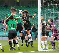 3rd November 2019; Aviva Stadium, Dublin, Leinster, Ireland; FAI Cup Womens Final Football, Peamount United versus Wexford Youth Womens Football Club; Lauren Dwyer of Wexford Youths heads the corner kick away from her goal - Editorial Use