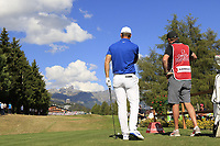 Lucas Bjerregaard (DEN) on the 18th tee during Sunday's Final Round 4 of the 2018 Omega European Masters, held at the Golf Club Crans-Sur-Sierre, Crans Montana, Switzerland. 9th September 2018.<br /> Picture: Eoin Clarke | Golffile<br /> <br /> <br /> All photos usage must carry mandatory copyright credit (&copy; Golffile | Eoin Clarke)