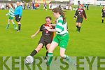 Tralee Dynamos Breda Slattery get a tackle in against Killarney Celtic's Julie Kelly at Cahermoneen, Tralee on Sunday.