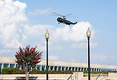 Marine One prepares to land with United States President Barack Obama and First Lady Michelle Obama before a remembrance ceremony at the Pentagon in Washington, DC, on Sunday, September 11, 2011. .Credit: Joshua Roberts / Pool via CNP
