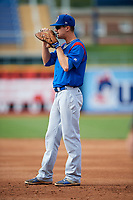 South Bend Cubs first baseman Jared Young (16) during the first game of a doubleheader against the Lake County Captains on May 16, 2018 at Classic Park in Eastlake, Ohio.  South Bend defeated Lake County 6-4 in twelve innings.  (Mike Janes/Four Seam Images)