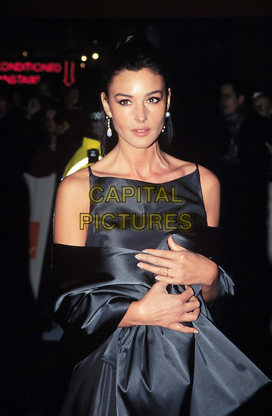 MONICA BERLUCCI..BAFTAS  ..Ref: 10401..www.capitalpictures.com..sales@capitalpictures.com..©Capital Pictures..formal dress, grey, gray silver dress and shoulder wrap..half length, half-length