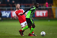 Fleetwood Town's Paddy Madden competes with Plymouth Argyle's Yann Songo'o<br /> <br /> Photographer Richard Martin-Roberts/CameraSport<br /> <br /> The EFL Sky Bet League One - Fleetwood Town v Plymouth Argyle - Saturday 10th March 2018 - Highbury Stadium - Fleetwood<br /> <br /> World Copyright &not;&copy; 2018 CameraSport. All rights reserved. 43 Linden Ave. Countesthorpe. Leicester. England. LE8 5PG - Tel: +44 (0) 116 277 4147 - admin@camerasport.com - www.camerasport.com