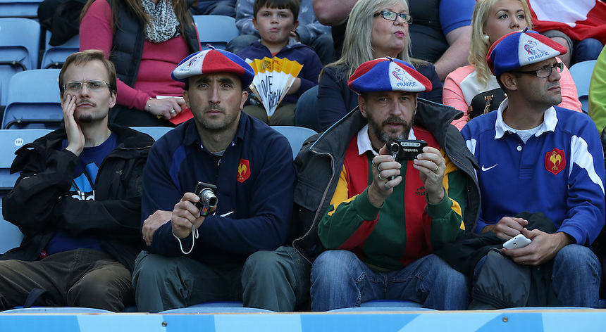 French fans look forward to the match <br /> <br /> Photographer Stephen White/CameraSport<br /> <br /> Rugby Union - 2015 Rugby World Cup Pool C - Argentina v Tonga - Sunday 4th October 2015 - King Power Stadium - Leicester <br /> <br /> &copy; CameraSport - 43 Linden Ave. Countesthorpe. Leicester. England. LE8 5PG - Tel: +44 (0) 116 277 4147 - admin@camerasport.com - www.camerasport.com