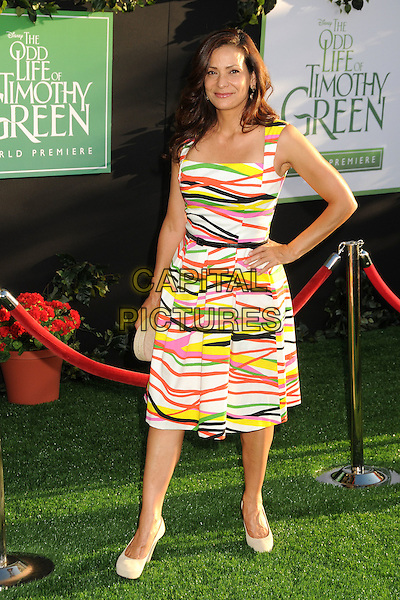 "Constance Marie.""The Odd Life of Timothy Green"" Los Angeles Premiere, Hollywood, California, USA..August 6th, 2012.full length white black green yellow pink dress striped stripes hand on hip.CAP/ADM/BP.©Byron Purvis/AdMedia/Capital Pictures."