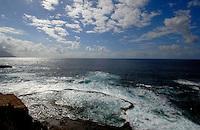 Tide forcing water into sea pool, playa de la Piloto, El Hierro, Canary islands,