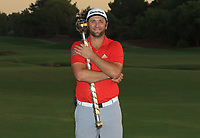 Jon Rahm (ESP) winner of the DP World Tour Championship 2017 at the Jumeirah Golf Estates, Dubai, United Arab Emirates. 19/11/2017<br /> Picture: Golffile | Thos Caffrey<br /> <br /> <br /> All photo usage must carry mandatory copyright credit     (© Golffile | Thos Caffrey)