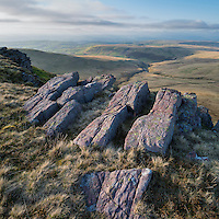 Rock outcropping on ridge of Carmarthen Fans - Bannau Sir Gaer, Black Mountain, Brecon Beacons national park, Wales