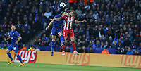 Leicester City's Yohan Benalouane and Atletico Madrid's Saul Niguez<br /> <br /> Photographer Stephen White/CameraSport<br /> <br /> UEFA Champions League Quarter Final Second Leg - Leicester City v Atletico Madrid - Tuesday 18th April 2017 - King Power Stadium - Leicester <br />  <br /> World Copyright &copy; 2017 CameraSport. All rights reserved. 43 Linden Ave. Countesthorpe. Leicester. England. LE8 5PG - Tel: +44 (0) 116 277 4147 - admin@camerasport.com - www.camerasport.com