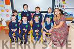 Junior Infants from Castlemaine NS with their teacher Ann Maria Tyther on their first day of school on Wednesday front row l-r: James McCloskey-Boyne, Alex Stephens, Connor Ashe, Ellie Ladden. Back row: Doireann O'Connor, Sam Stephens, JAmie O'Connor, Sorcha Dow