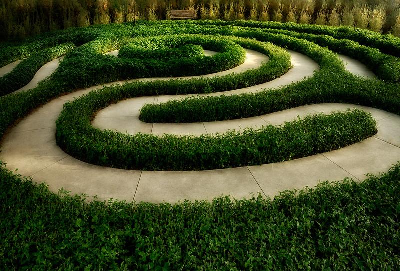 Garden sculpture labyrinth path. Sunnylands gardens. Palm Springs, California