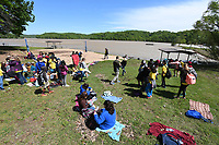 NWA Democrat-Gazette/J.T. WAMPLER Lingle Middle School students have lunch on the shores of Beaver Lake Thursday May 4, 2017 during the 20th Annual Outdoor School. Due to flooding at Lake Atalanta, the sessions were moved to the Prairie Creek Recreational Area. The outdoor classes will continue from 9 a.m. to 1 p.m. today (FRIDAY).<br />