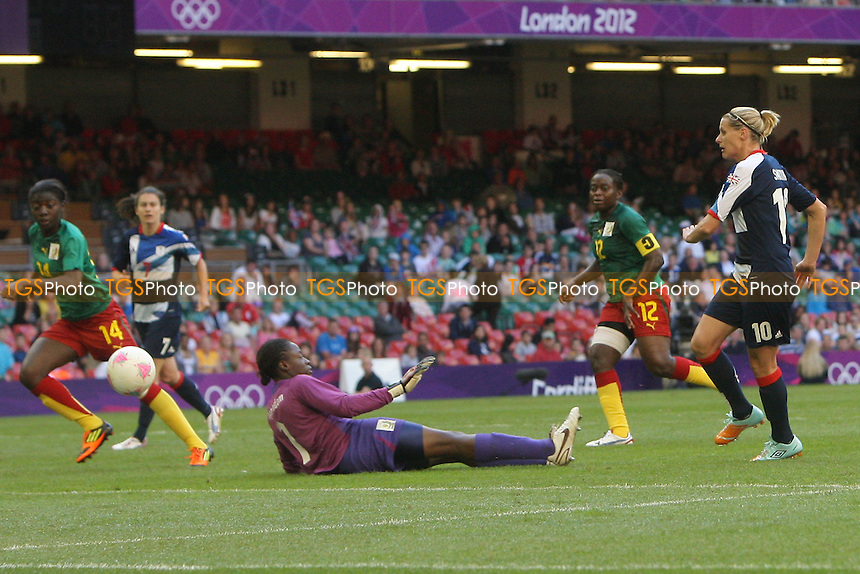 Kelly SMITH of Great Britain goes close to a goal - Great Britain Women vs Cameroon Women - Womens Olympic Football Tournament London 2012 Group E at the Millenium Stadium, Cardiff, Wales - 28/07/12 - MANDATORY CREDIT: Gavin Ellis/SHEKICKS/TGSPHOTO - Self billing applies where appropriate - 0845 094 6026 - contact@tgsphoto.co.uk - NO UNPAID USE.