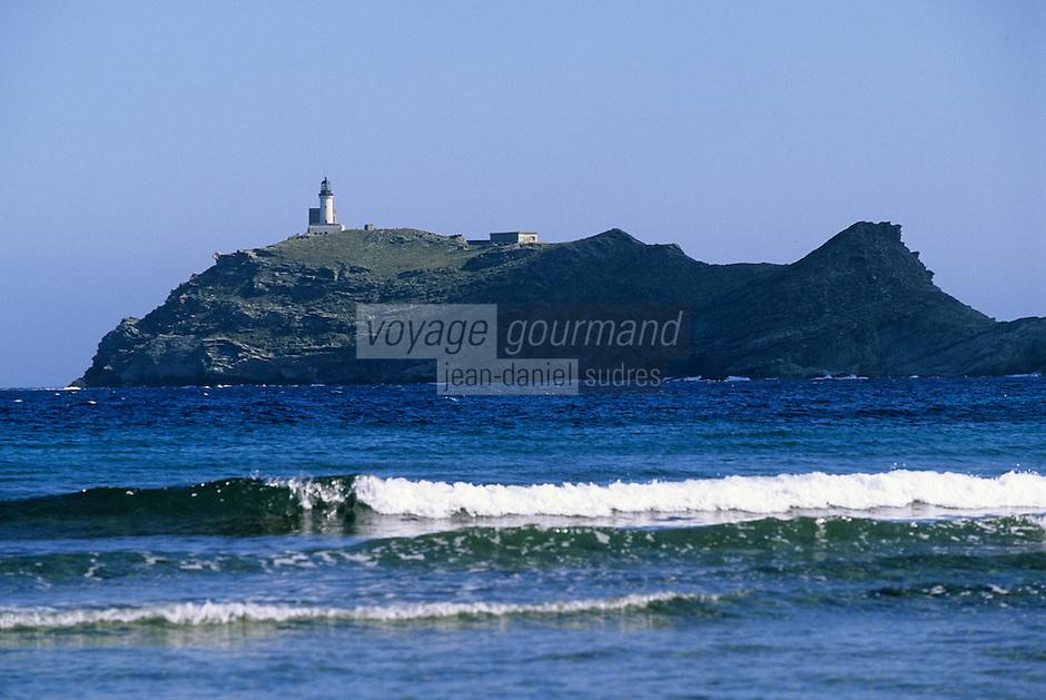 Europe/France/Corse/2B/Haute-Corse/Cap Corse/Barcaggio: L'ile de la Giraglia et le phare de la Giraglia