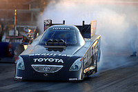 Jan 21, 2007; Las Vegas, NV, USA; NHRA Funny Car driver Scott Kalitta does a burnout during preseason testing at The Strip at Las Vegas Motor Speedway in Las Vegas, NV. Mandatory Credit: Mark J. Rebilas