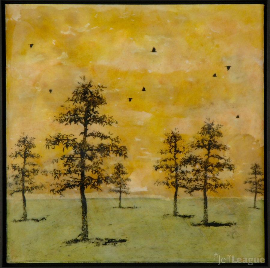 Mixed media encaustic painting/photo transfer of trees and crows  by Jeff League.