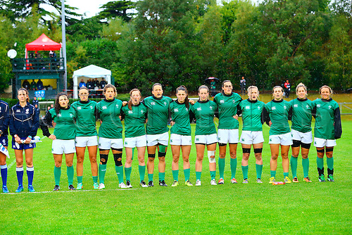 23.08.2015. Dublin, Ireland. Women's Sevens Series Qualifier 2015. Japan versus Ireland<br /> The Irish team sing the national anthem before the cup final.