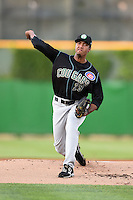 Kane County Cougars pitcher Duane Underwood (29) delivers a pitch during a game against the Peoria Chiefs on June 2, 2014 at Dozer Park in Peoria, Illinois.  Peoria defeated Kane County 5-3.  (Mike Janes/Four Seam Images)