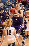 SIOUX FALLS, SD - MARCH 10:  Ashley Luke #5 from Western Illinois shoots over Erin Murphy #12 from IPFW in the second half of their quarterfinal game Sunday afternoon at the 2013 Summit League Championships in Sioux Falls, SD.  (Photo by Dave Eggen/Inertia)